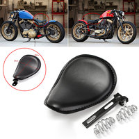 Solo Bracket Seat Motorcycle Seat Durable Leather Seat Spring Brackets Solo Seat Leather Black Replaceable Convenient