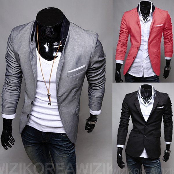 2015 New Men Clothing England Style Men Suit Jackets Solid Patch