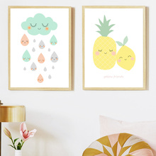 Cartoon Pineapple Lemon Cloud Posters And Prints Wall Art Canvas Painting Nordic Poster Pictures Kids Room Decor