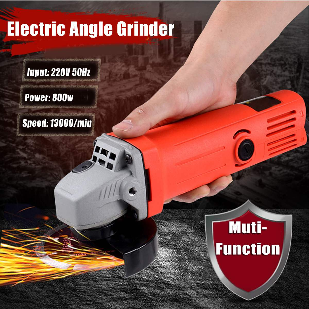 800W 220V 100mm Portable Electric Angle Grinder Muti-Function Household Polish Machine Grinding Cutting Polishing Machine cukyi household electric multi function cooker 220v stainless steel colorful stew cook steam machine 5 in 1