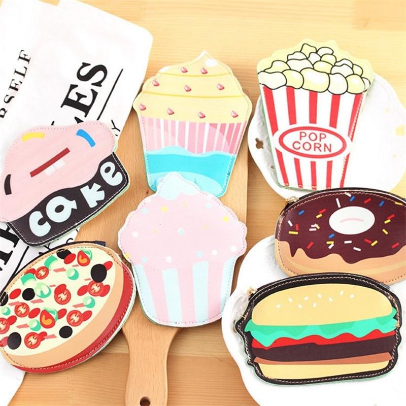 Brand PU Purse Women Fashion 3D Food Hamburger Pocket Lovely Small Change Bag femme Zero Wallet Funny feminino Key Coin Pouch