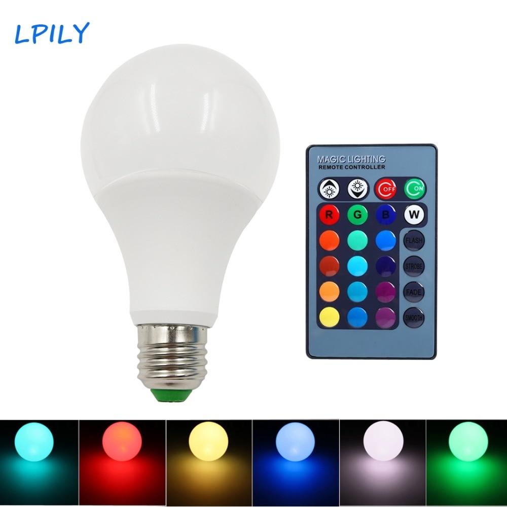 LPILY LED Bulb E27 RGBW 110V 220V 3W 5W 7W 9W Edison RGB LED Bulb Lamp Light 16 Colors with Remote Control LED Bombillas lampada keyshare dual bulb night vision led light kit for remote control drones