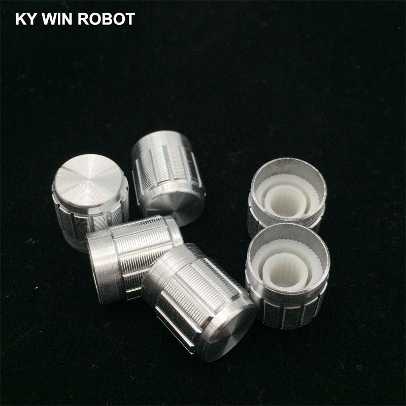 5Pcs 15*17MM White Metal 6mm Knurled Shaft Potentiometer Control Knobs