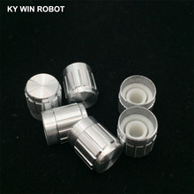 5Pcs 15*17MM White Metal 6mm Knurled Shaft Potentiometer Control Knobs