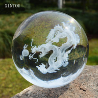 XINTOU 3D Laser Engraved Crystal Dragon Ball Asia China Mascot Dragon Figurines Feng Shui Glass Globe Home Living Room Ornament
