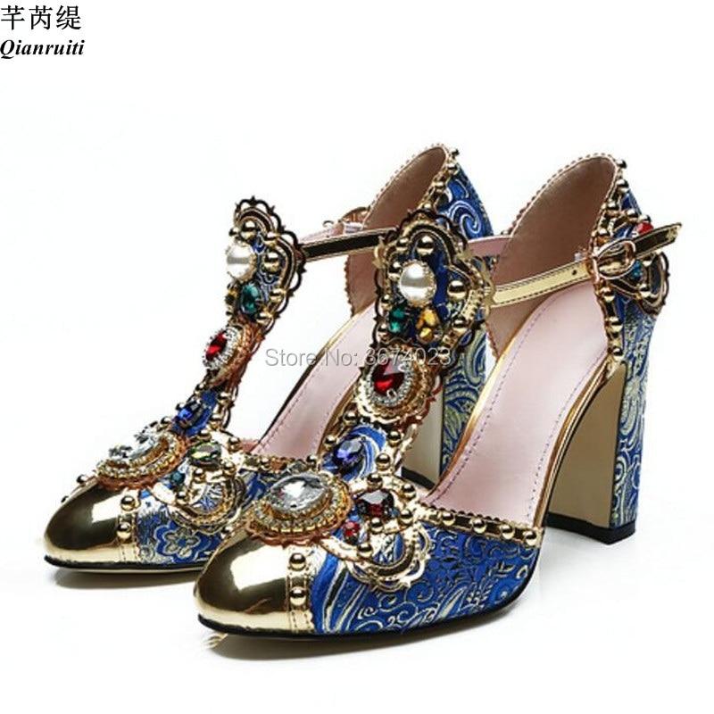 7b93b42bf99b6 Detail Feedback Questions about Qianruiti Mujer Runway Diamonds Sandals T  strap Block High Heels Gold Toe Luxury Jeweled Shoes Bohemia Dress  Sandalias Vogue ...