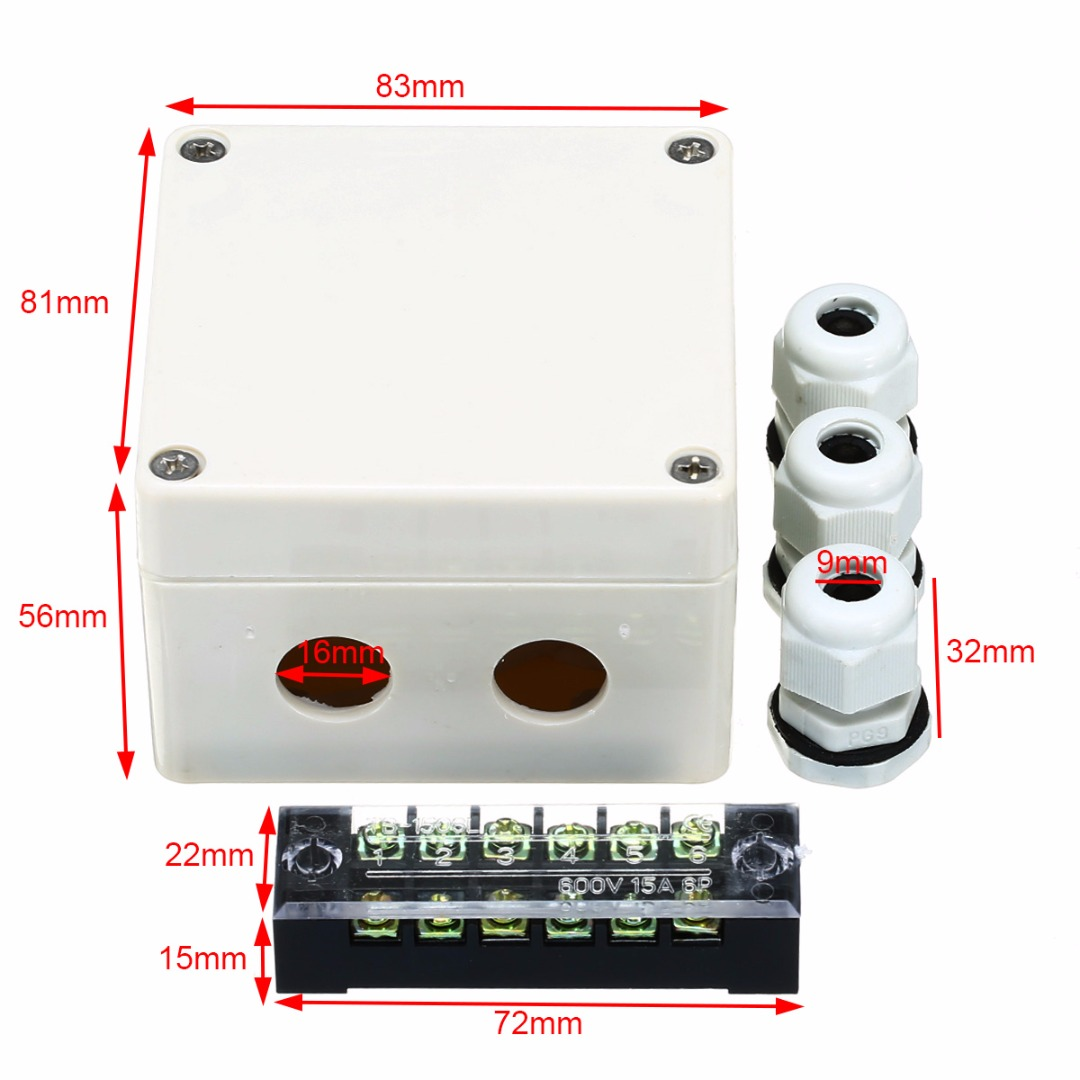 1pc Waterproof Junction Box Distribution Box Electric Enclosure Case 6 Ports With Terminal Connectors For Electricity Railways