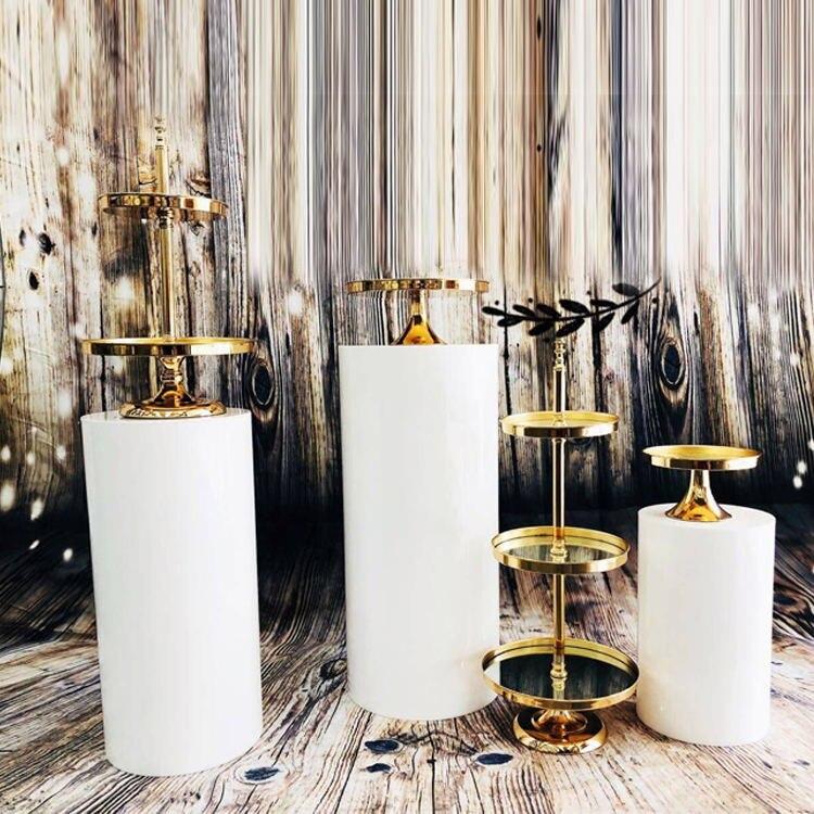 2019 faveurs de mariage affichage miroir rack gâteau décoratif stand dessert table décoration Macaron guidon pan