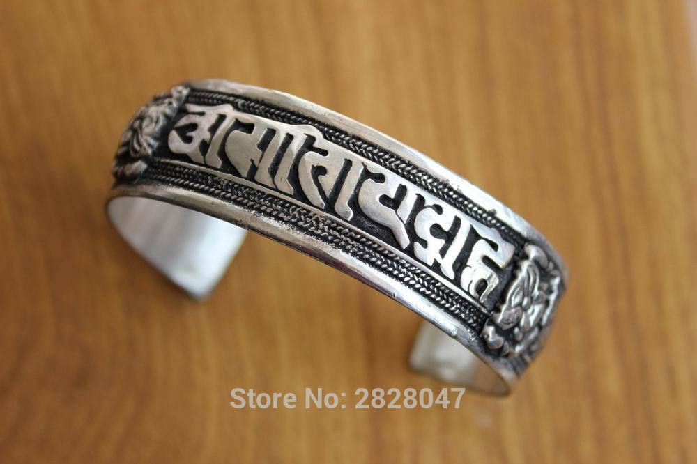 BR424 Vintage Tibetan Silver Antiqued Mantras Weaving Men Bangle Handmade Nepalese 20mm լայն կարգավորելի ձեռնաշղթա