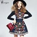YOUMIGUE Весенняя Мода Марка Цветочные Вышитые Dress Женщины Шею Длинным Рукавом Старинные Богемные Платья Vestidos Robe Femme