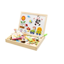 Montessori Wooden magnetic double-sided children's drawing Toys board happy farm spelling animal puzzle Wooden educational toys