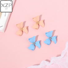 XZP S925 Korean Style Cute Flower Shape Stud Earrings For Women 2019 New Fashion Sweet Candy Color Femme Brinco Jewelry