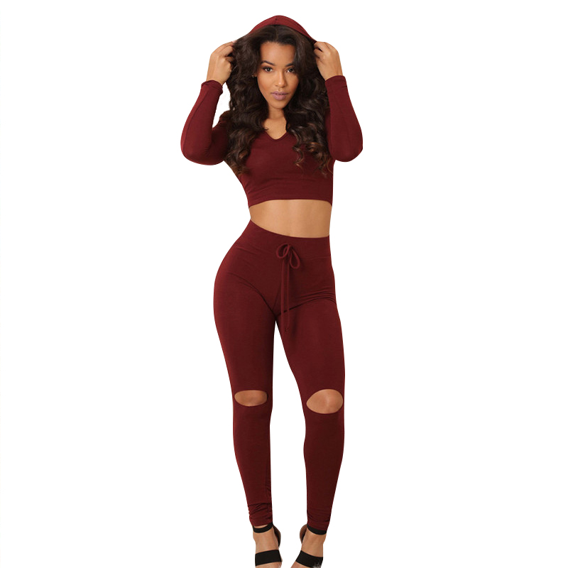 Fashion Women Hooded Tracksuits Long Sleeve Casual Hooded Crop Top And Holes Leggings Tight Bodycon 2 Piece Jumpsuit Rompers