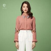 FANSILANEN 2018 Fashion Autumn Spring Office Women Befree Tops Long Sleeve Blouse Shirts Blouses Print Chiffon
