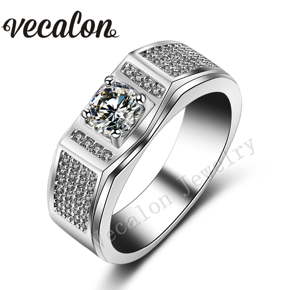 vecalon 2016 trendy male engagement band ring stone 5a zircon 10kt white gold filled party wedding ring for men sz 7 13 - Cheap Men Wedding Rings
