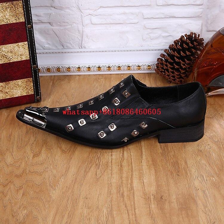 Sapatos Metálico Italiano Para Homens Pico Loafers Mocassins Apontou De Homem Couro Oxford Formais Rebites Toe 1EqIxw1raP