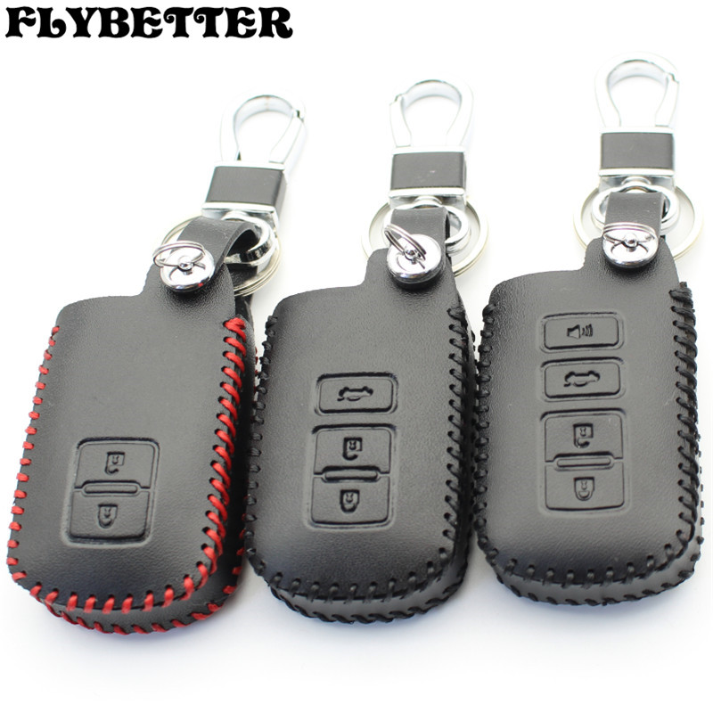 цена на FLYBETTER Genuine Leather Remote Control Key Chain Cover Case For Toyota Camry/Crown/Prado/Corolla/Land Cruiser Smart Key L2125
