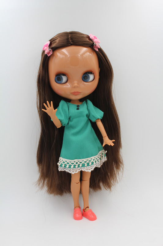 Free Shipping BJD joint RBL-230J DIY Nude Blyth doll birthday gift for girl 4 colour big eyes dolls with beautiful Hair cute toy цена