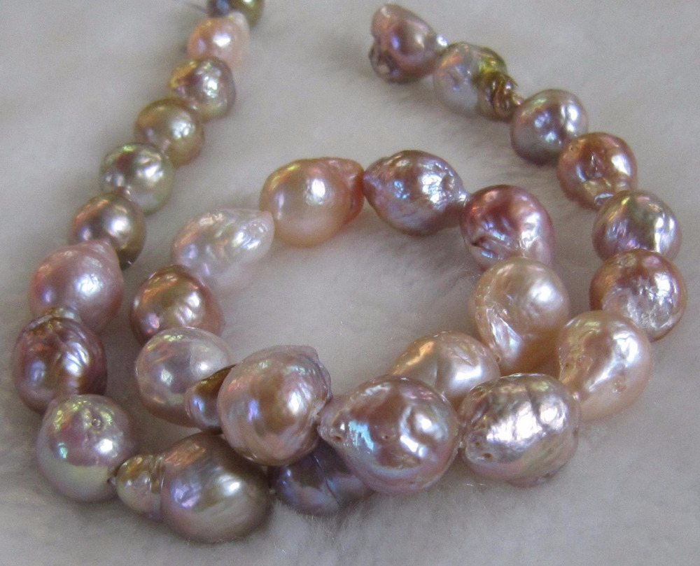 Genuine 12-14mm Natural South Sea Baroque Lavender Akoya Pearl Necklace 18