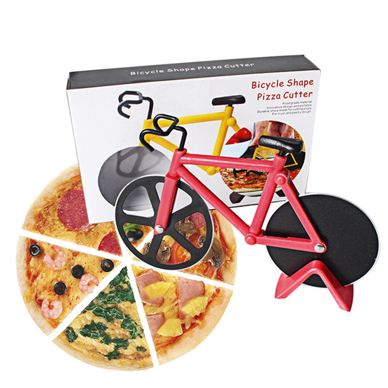 1 PC Kitchen Bakeware Supplies Bicycle Pizza Cutter Optional Bike Pizza Cutter Wheel Stainless Steel Pizza Slicer Knife Tools