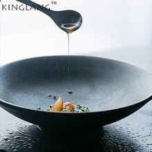 KINGLANG Ceramic Porcelain Black Color Salad Fruits Food Bowl Noodle Bowl Tableware
