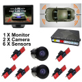 "GreenYi Car Video Parking Radar Sensor System Sensor with 6PCS 16MM Flat Sensors + HD 5"" Car TFT LCD Monitor with 2 Cameras"