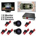 "GreenYi Car Video Parking Radar Sensor System Sensor with 6PCS 16MM Flat Sensors + HD 5"" Car TFT LCD Monitor with 2 Cameras"