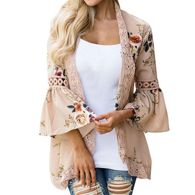 Lace Blouse Coat Outwear 2018 New Fashion Floral Printed Shirt Femme Tops Flare Sleeve Vintage Jackets Coats Vetement Femme Ete
