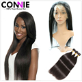 7A Brazilian Straight Hair With Closure 360 Lace Frontal With Bundles Remy Human Hair Brazilian Virgin Hair With 360 Closure