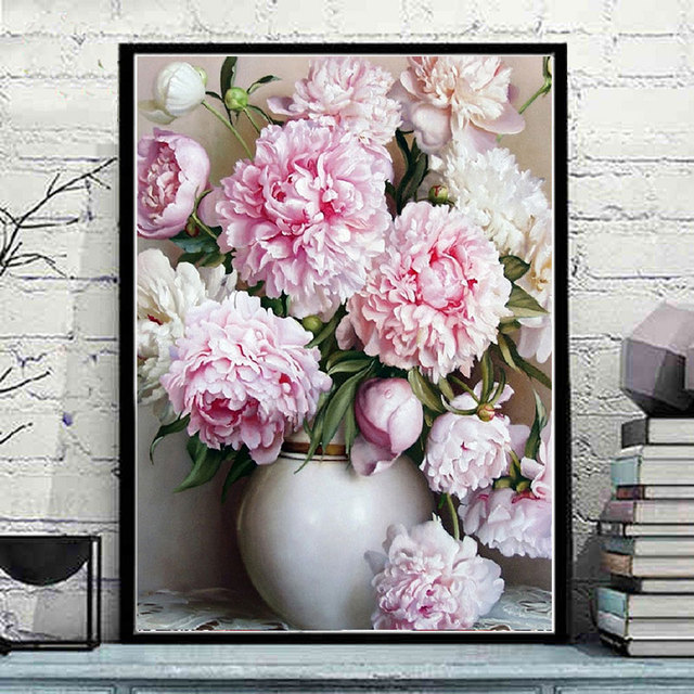 Art Draw Pink Peony Flowers In White Vase Diy Oil Painting By