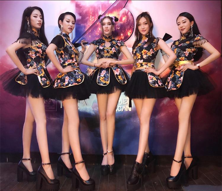 Analytisch Vrouwen Danser Teams Jazz Dance Show Kostuum Lady Ds Prestaties Kleding Bar Sexy Chinese Stijl Toonaangevende Pak Bar Party Stage Dragen