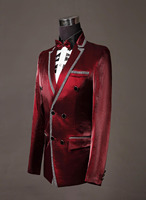 Latest Coat Pant Designs Burgundy Double Breasted Satin Men Suit Costume Stage Slim Fit Tuxedo 2 Piece Groom Blazer Masculino