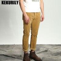 KEKURILY Brand Winter Men Pants Fashion Corduroy Straight Pencil Pants Male Casual High Quality Warm Long