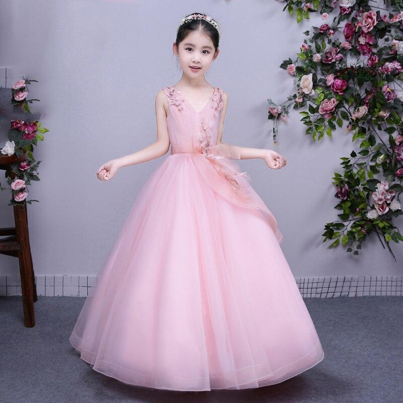 Pink Ball Gown V Neck Sleeveless Girls Wedding Dresses Summer 2017 New Flower Girls Dresses Bridesmaid Children's Clothes P34 fashionable women s pink sleeveless v neck tank top
