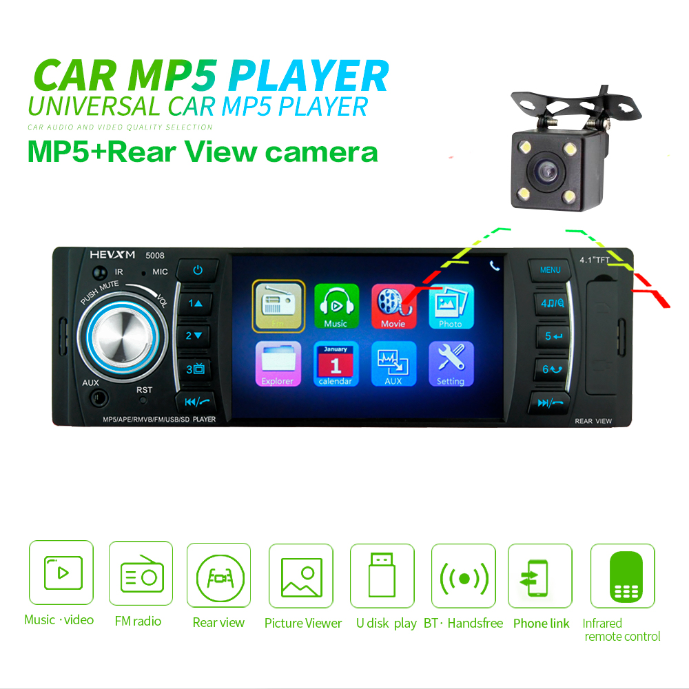 4.1 inch 1 Din mirror link Car Radio Audio Stereo AUX FM Radio Station Bluetooth Autoradio with Rearview Camera Remote Control image