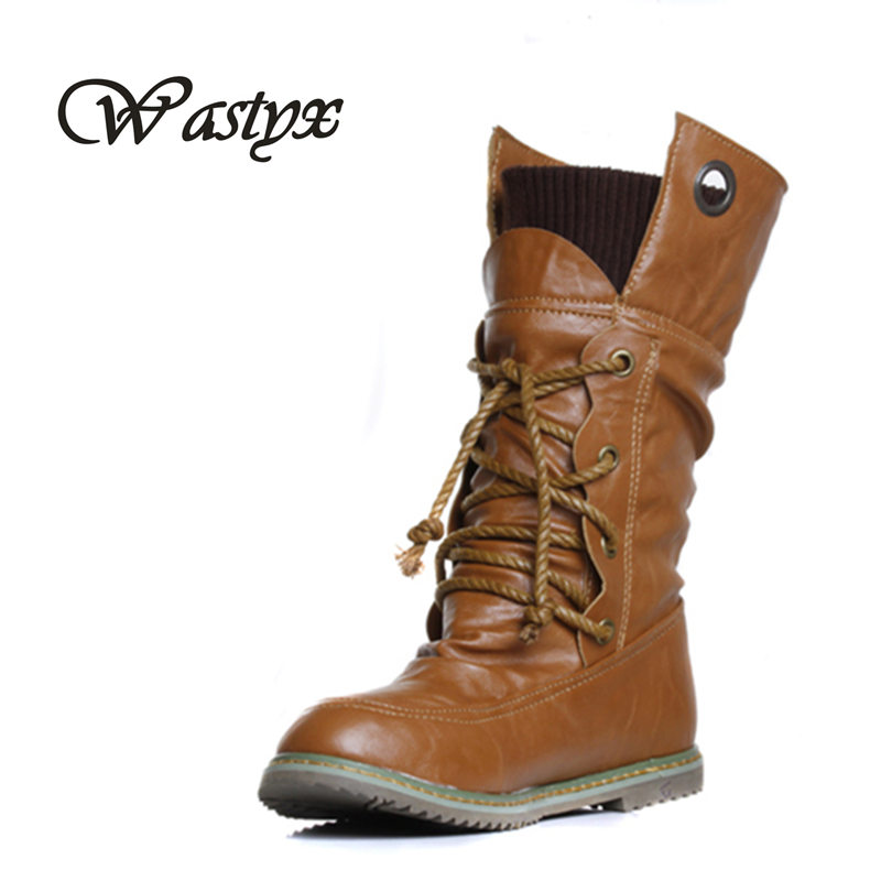 2016 New Arrival Women Mid-calf Boots Lace up Motorcycle Fashion Spring womens boots Big size 34-43 double buckle cross straps mid calf boots