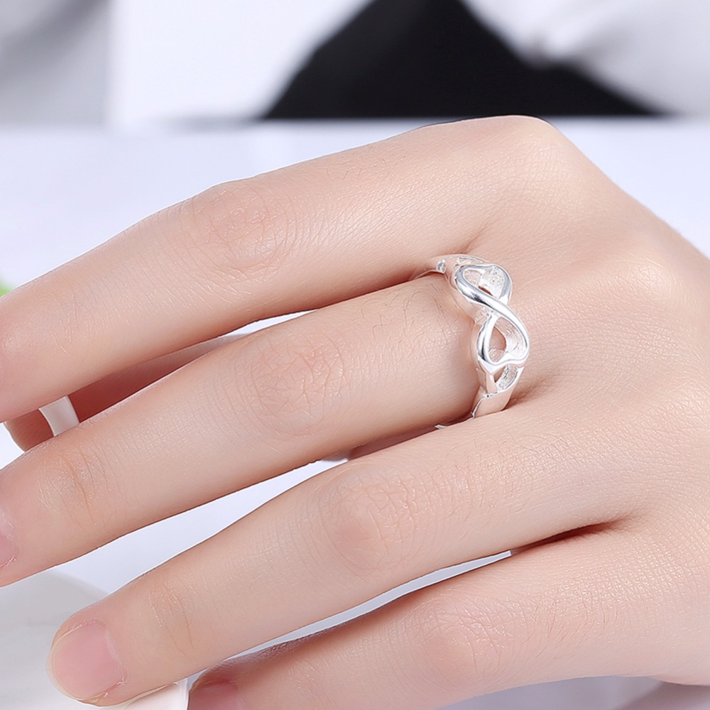double heart rings for women silver plated 925 jewelry Infinite ring ...