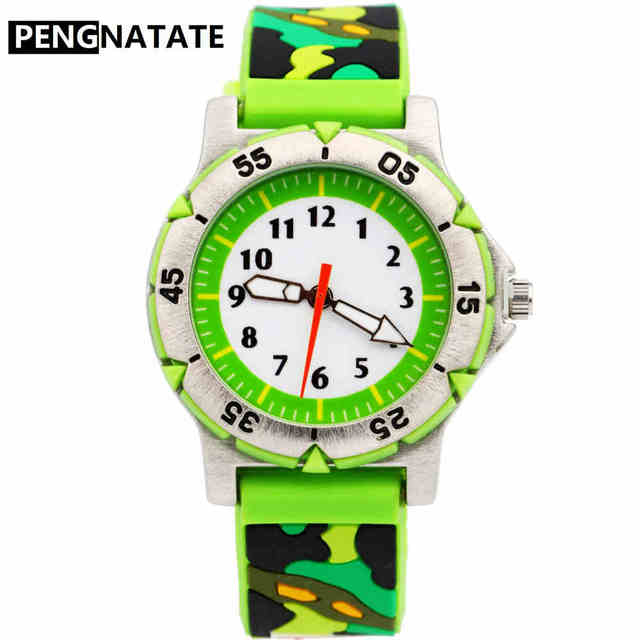 PENGNATATE Kids Watches Boys Cute Gifts Fashion Silicone Camouflage Bracelet Wri