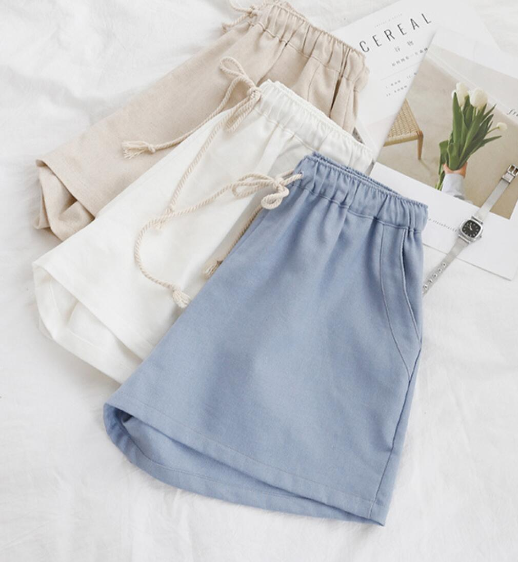 NEW Womens summer shorts Women Plus Shorts 9 88 Summer breathable cotton and linen shorts KHD1230