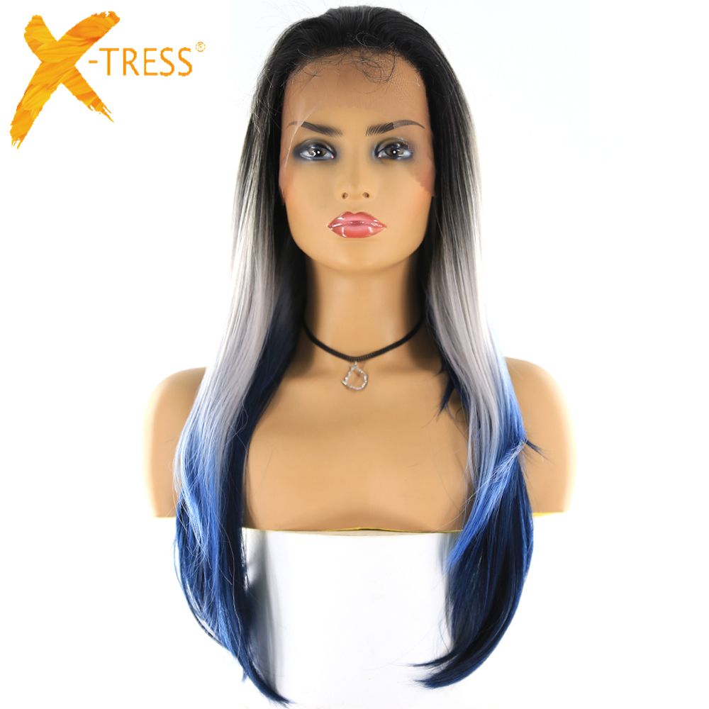 Platinum Blue Ombre Color Lace Front Wigs For Women X-TRESS Long Straight 13x4 Swiss Lace Frontal Synthetic Hair Wig Free Part