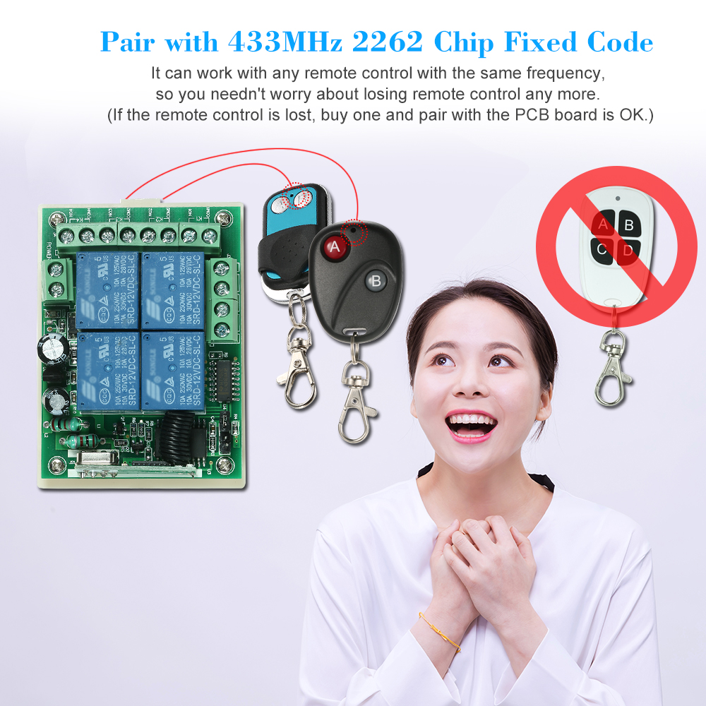 wireless rf remote control switch receiver module transmitter fixed code  (2262 chip) remote controls smart home automation