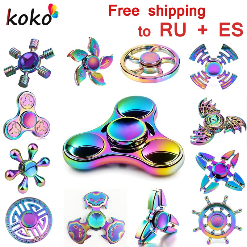 Rainbow brass Fidget Spinner Finger ABS EDC Hand Spinner Tri For Kids Autism ADHD Anxiety Stress Relief Focus  gift Toys fidget hand spinner brass metal edc finger spinner anti stress hand spinner for autism adhd toys gift spinning top