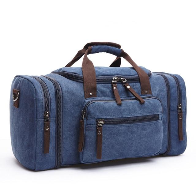 MARKROYAL Мужская парусиновая дорожная сумка мужской большой Ёмкость дорожные сумки ручной клади Сумка ночь дропшиппинг - Цвет: Dark blue