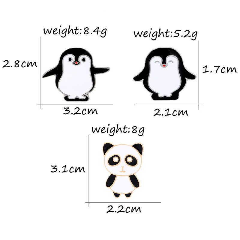 3 pce/set Hayvan Pin Karikatür Broş Siyah Penguen Panda Emaye Pimleri Erkekler Kadınlar Rozeti Sırt Çantası yaka Ceketler Takı aksesuarları