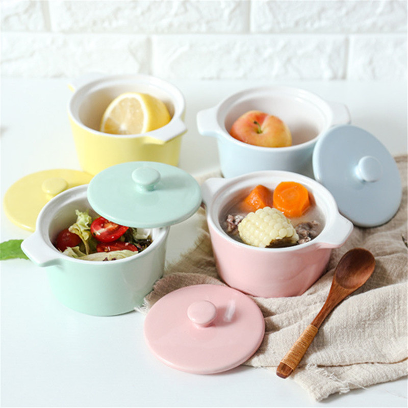 Korean Glazed Mini Ceramic Soup Pot Double Handle Rice Bowl With Lid Snacks Storage Container Colorful Mini Pot Food Tray 1pcs