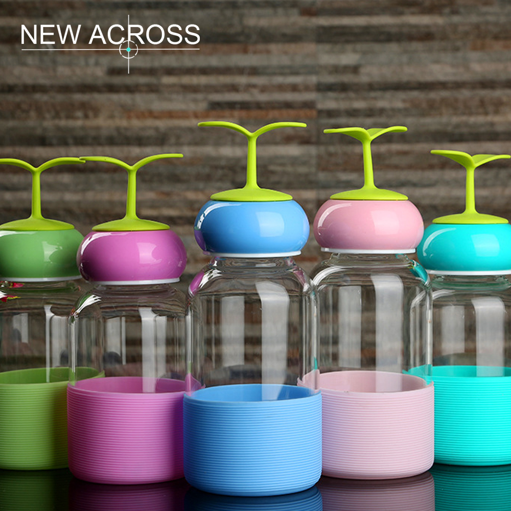 JUH 1Pc Water Glass Fashion Advertising Gift Bottle Anti-Hot Water Glass Home School Office Water Bottle With Creative Grass Lid