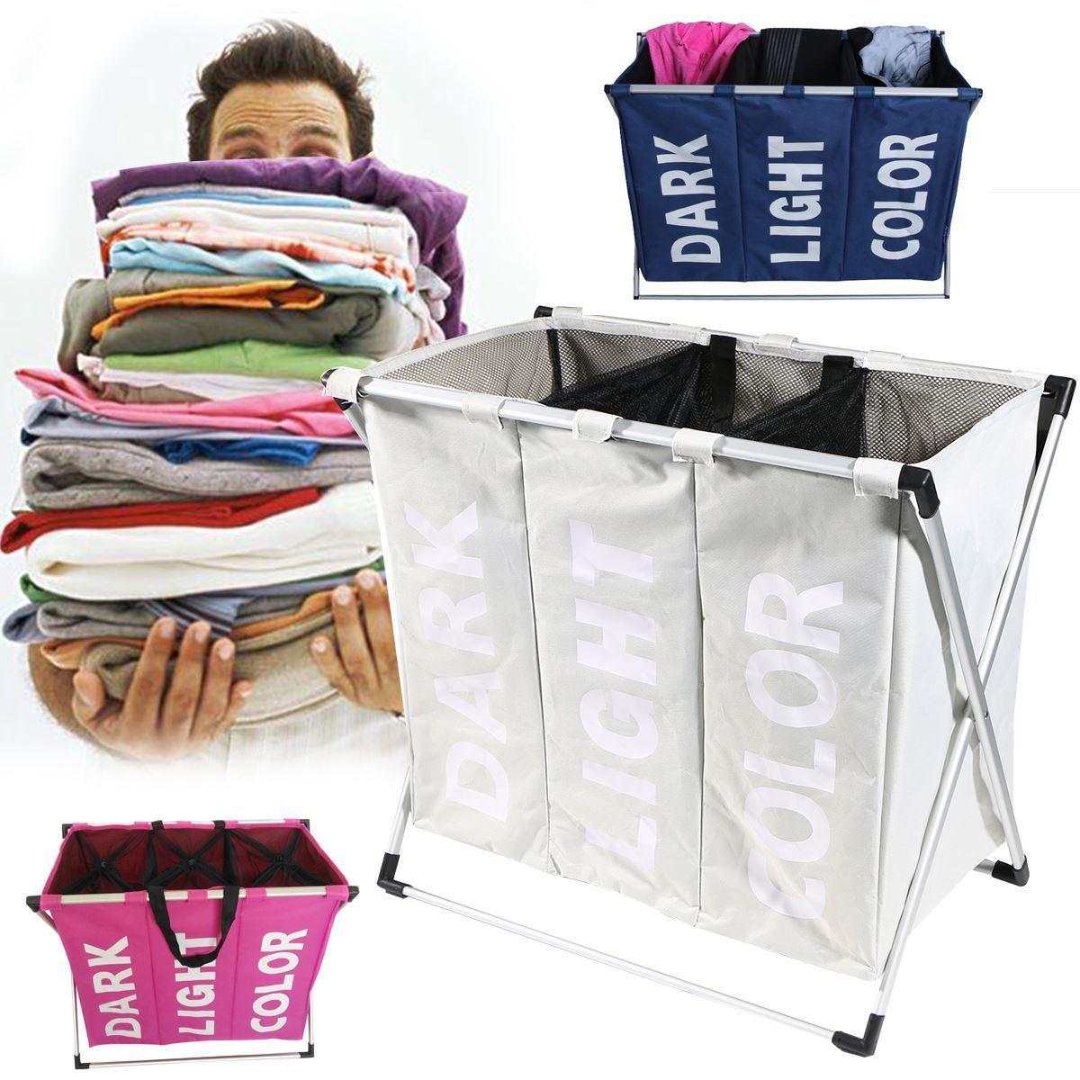 Folding Laundry Hamper Washing 3 Section Laundry Sorter Hamper Clothes Storage Basket Bin Organizer Washing Bag
