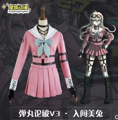Danganronpa V3 Killing Harmony Iruma Miu Cosplay Costume Props Anime Game Woman Party Dress School Uniform Outfit(no Glass)