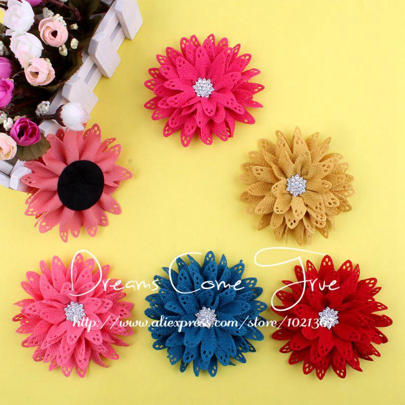 200pcs/lot 3.5 6Colors Excellent Quality Artificial Fabric Hair Flowers + Alloy Rhinestone Snow Button For Baby Girl Headband