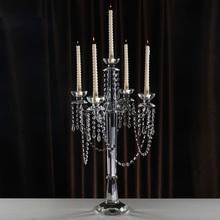 Wedding Centerpieces Candle Holders Crystal Demountable 70cm 5arms Europe Home Decoration Candstick with hanging beads